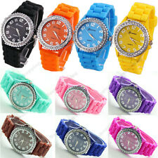 Womens Mens Geneva Silicone Crystal Jelly Gel Quartz Analog Sports Wrist Watch