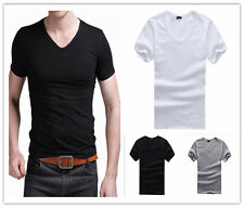 New Mens Tops Casual shirts Slim Fit V neck T-shirt Short Sleeve Muscle Tee
