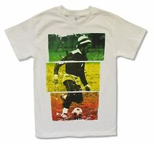 """BOB MARLEY """"SOCCER ON WHITE"""" WHITE T-SHIRT NEW OFFICIAL ADULT"""