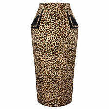 Leopard Print Rockabilly Vintage Fitted Career Office Wiggle Pencil Skirt