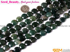 "Natural Gemstone Moss Agate Stone Jewelry Making Beads 15"" Button Coin Cabochon"