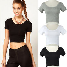 Summer Short Sleeves Sexy Women Blouse Basic Tees Tops Cropped T-shirt Blouse