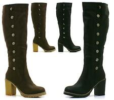 NEW WOMENS LADIES KNEE HIGH STUDDED LEATHER STYLE HIGH HEEL BIKER RIDING BOOTS