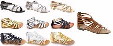 Women's Multi Color Strapy Flat  Diamante Gladiator Sandal Open Toe Shoe Sz 5-10