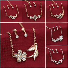 New Fashion Women Crystal Gold & Silver Necklace earrings Set Pendant Jewellery