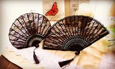 Chinese Japanese Folding Black Voile lace Hand Flower Bamboo Asian Pocket Fan