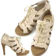 New Lovely  Classic Platform Lace Up Womens Heel Beige