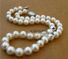 "80%OFF 9-10mm 16"",17"",18"",19"",20"" AAA Akoya White  Pearl Necklace Handmade"
