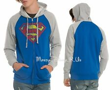 NEW DC Comics Superman Logo Color Block Raglan Zip Hoodie Hoody Men's Sizes S-XL