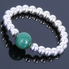 Men Women Gemstone Ring Malachite Sterling Silver Round Beads Handmade Elastic