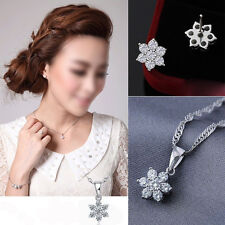 925 Sterling Silver Lady Lovely White Flower Earrings & Necklace Pendant Fashion