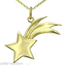Solid 9ct Gold Shooting Star Pendant Charm & Necklace Jewellery Gift Set 9k