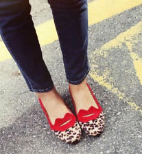 Womens Stylish Round Toe Leopard KISS Flat Ballerina Ballet Loafers Pumps Shoes