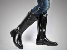 Men's Zipper Pointed Toe Punk PU Leather Riding Knee High Boots Shoes Kight Boot