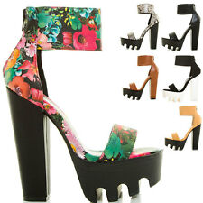 New Womens Chunky Thick High Heel Platform Lug Sole Cuff Ankle Strap Pump Sandal