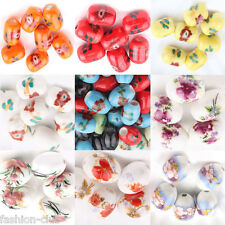 Wholesale 5/10/20X Mixed Ceramic Porcelain Decal Flower Loose Spacer Craft Beads