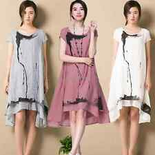 Korean Womens Cotton Linen Loose A-line Tunic Casual Summer Sundress Shirt Dress
