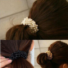 Fashion Women Pearls Beads Hair Band Rope Scrunchie Ponytail Holder Elastic