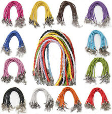 Hot 5/20Pcs Leather Braid Rope Cord Lobster Clasp Finding For Bracelets Anklets