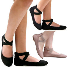 New Women AD2S Black Mary Jane Ankle Strap Ballet Flats sz 5 to 10