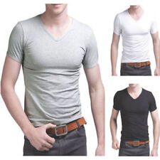 Mens V Neck Cotton T Shirt Short Sleeve Tops Slim Muscle Tee Plain White Black