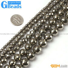 Natural Silver Gray Pyrite Gemstone Faceted Round Beads Free Shipping Strand 15""