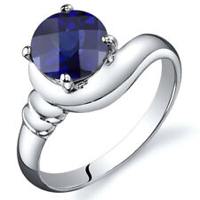 1.75 cts Blue Sapphire Solitaire Ring Sterling Silver Sizes 5 to 9