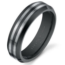 Unisex Striped Stainless Steel Wedding Band Ring Available in Sizes 5 to 13