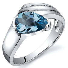 Pear Shape 1.25 cts Swiss Blue Topaz Ring Sterling Silver Sizes 5 to 9