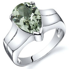 Brilliant 2.50 cts Green Amethyst Solitaire Ring Sterling Silver Sizes 5 to 9