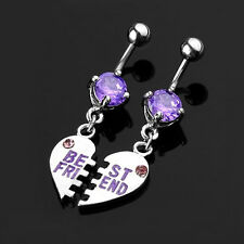 1 Pair Best Friend Pendent Heart Crystal Dangle Belly Dance Bar Navel Ring Gift