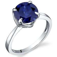 Sublime Solitaire 2.75 cts Blue Sapphire Ring Sterling Silver Size 5 to 9