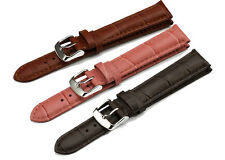 22mm Calf Leather Strap Alligator Grain Watch Band Steel Prev Buckle Bracelet