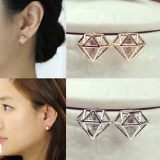 Fashion Hollow 3D Rhombus Crystal Rhinestone Earrings Pierced Ear Stud Jewelry