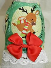 DOG CAT FERRET Travel Harness~Christmas Holiday RUDOLPH Reindeer BOW & LACE