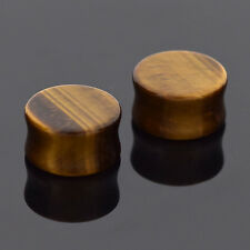 2pcs Organic Natural Tiger's Eye Stone Body Piercing Ear Flesh Tunnel Plug Gauge