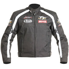 RST Isle Of Man TT Team Motorcycle IOM Jacket + Arai/Motul Logo - Black/White