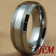 Tungsten Mens Ring Brushed Wedding Band Bridal Jewelry Titanium Color Size 6-15