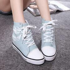 Top Chic Womens Fashion Sneakers Wedge Inside Canvas Shoes Lace up High Top Boot
