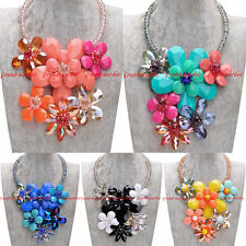 Fashion Clear Crystal Chain Colorized Resin Flower Collar Statement Bib Necklace