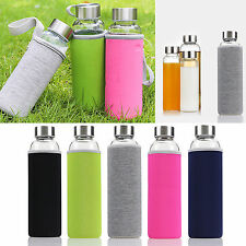 550ML Sports Portable Glass Water Juice Bottle Drinking Lid Cup Mug Clear Colors