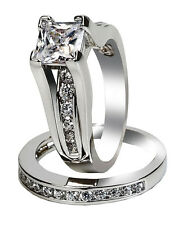 Womens Simulated Princess Sterling Silver Wedding Engagement Ring Set Size 5-10