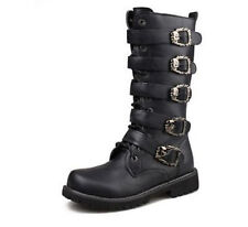 2015 Mens Buckle Lace Up Riding Motocycle Combat Biker Militerry Knee High Boots