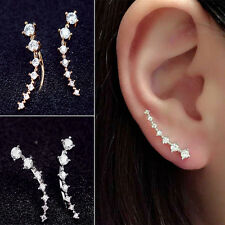 Sexy Women Fashion Rhinestone Gold Silver Hook Crystal Ear Stud Earrings