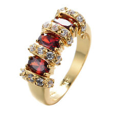 Fashion Ring Size 7/8/9 Red Ruby Women's 10Kt Yellow Gold Filled Wedding Jewelry