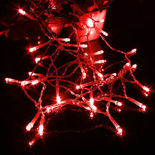 Red Battery Operated Fairy Lights String 10-50 LED Indoor Outdoor Decor 1-5m New