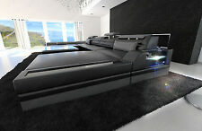 Big Sectional Sofa MONZA U-Shaped with LED Lights black grey