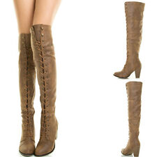 Tan Lace Up Chunky Thick Heel Over Knee Thigh High Military Combat Women Boot US