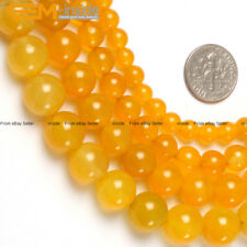 "Natural Stone Yellow Agate Gem Beads For Jewelry Making 15"" Wholesale Beads"