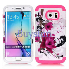 Purple Flower Rugged Sky Blue Rubber Cover Case For Samsung Galaxy S6 Edge